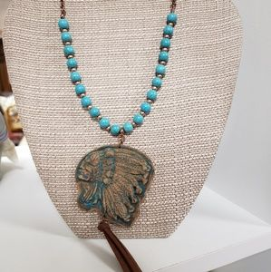 Leather Indian head beaded necklace
